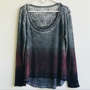 Go Couture Scoop Neck L/S Ombré Tee